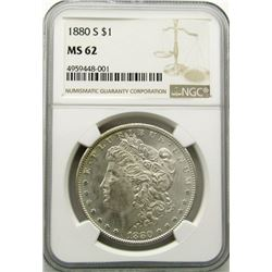 1880-S Morgan Silver Dollar $ NGC MS 62