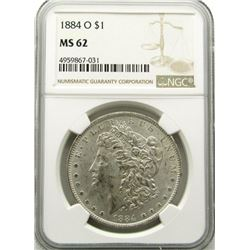 1884-O Morgan Silver Dollar $ NGC MS 62