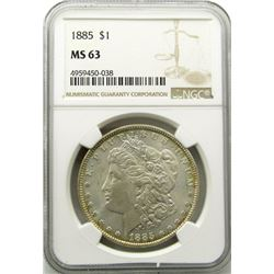 1885-P Morgan Silver Dollar $ NGC MS 63