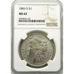 1885-O Morgan Silver Dollar $ NGC MS 63