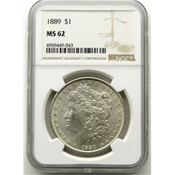 1889-P Morgan Silver Dollar $ NGC MS 62