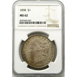 1898-P Morgan Silver Dollar $ NGC MS 62