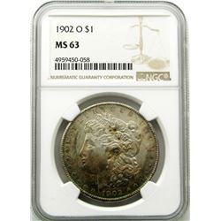 1902-O Morgan Silver Dollar $ NGC MS 63