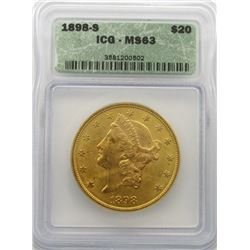 1898-S $20 Gold Liberty ICG MS 63