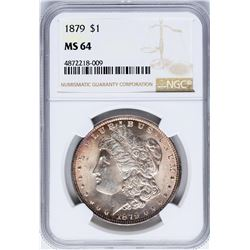 1879 $1 Morgan Silver Dollar Coin NGC MS64 Nice Toning