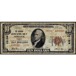 1929 $10 Seaboard Citizens NB Norfolk, VA CH# 10194 National Currency Note