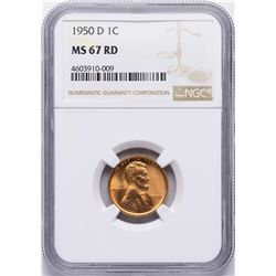 1950-D Lincoln Wheat Cent Coin NGC MS67RD