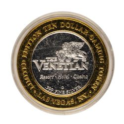 .999 Fine Silver The Venetian Las Vegas, Nevada $10 Limited Edition Gaming Token