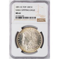 1891-CC $1 Morgan Silver Dollar Coin NGC MS61 Top-100 VAM 3