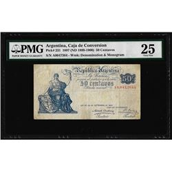 1897 Argentina 50 Centavos Caja de Conversion Pick# 231 PMG Very Fine 25