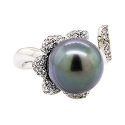 18KT White Gold 0.46 ctw Diamond and Tahitian Pearl Ring