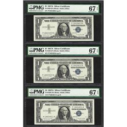 Lot of (3) Consecutive 1957A $1 Silver Certificate Notes PMG Superb Gem Unc 67EP