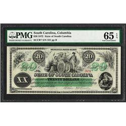 1872 $20 State of South Carolina Revenue Bond Obsolete Note PMG Gem Uncirculated