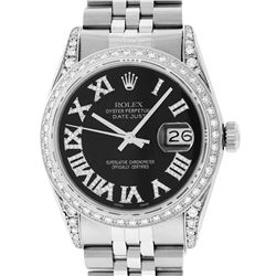 Rolex Mens Stainless Steel Black Roman Diamond Datejust Wristwatch