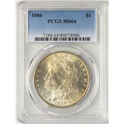 1886 $1 Morgan Silver Dollar Coin PCGS MS64 Nice Reverse Toning