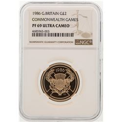 1986 Great Britain 2 Pounds Commonwealth Games Gold Coin NGC PF69 Ultra Cameo