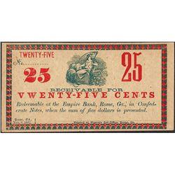 1862 Twenty-Five Cents Empire Bank Rome, GA Obsolete Note