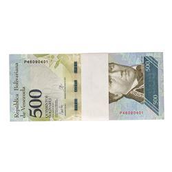 Pack of (100) Uncirculated 2017 Republic of Venezuela 500 Bolivares Bank Notes