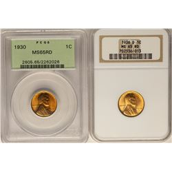 Lot of 1930 & 1936-D Lincoln Wheat Cent Coins PCGS/NGC MS65RD