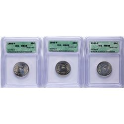 Lot of (3) 1999-P Georgia State Quarter Coins ICG MS65 Struck Slightly Offcenter