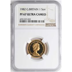 1982 Great Britain Sovereign Gold Coin NGC PF67 Ultra Cameo