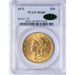 1872 $20 Liberty Head Double Eagle Gold Coin PCGS MS60 CAC