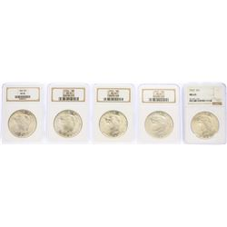 Lot of (5) 1923 $1 Peace Silver Dollar Coins NGC MS65