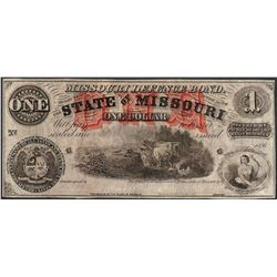 1860's $1 State of Missouri Defence Bond Obsolete Currency Note
