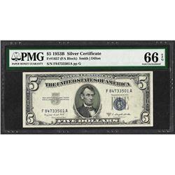 1953B $5 Silver Certificate Note Fr.1657 PMG Gem Uncirculated 66EPQ