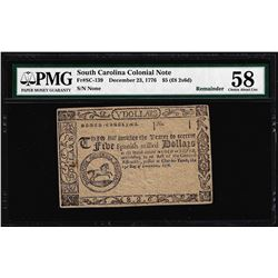 December 23, 1776 South Carolina $5 Colonial Currency Note PMG Choice About Unc.
