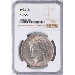1922 $1 Peace Silver Dollar Coin NGC AU55
