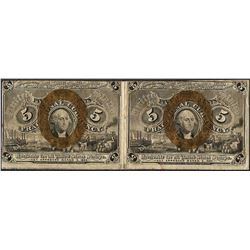 Uncut Pair of March 3, 1863 Second Issue Five Cent Fractional Notes