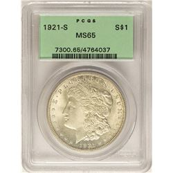 1921-S $1 Morgan Silver Dollar Coin PCGS MS65 Old Green Holder