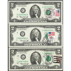 Lot of (3) 1976 $2 Federal Reserve Notes First Day Issue with Stamps