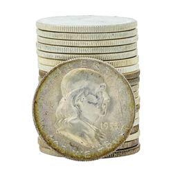 Roll of (20) Brilliant Uncirculated 1953-S Franklin Half Dollar Coins