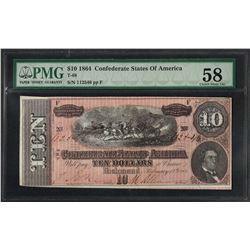 1864 $10 Confederate States of America Note T-68 PMG Choice About Uncirculated 5