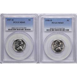 Lot of 1956-D & 1957-D Jefferson Nickel Coins PCGS MS65