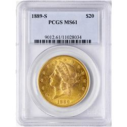 1889-S $20 Liberty Head Double Eagle Gold Coin PCGS MS61