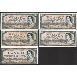 Lot of (5) 1954 $100 Bank of Canada Notes