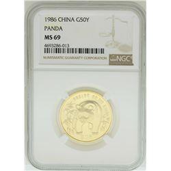 1986 China 50 Yuan Panda Gold Coin NGC MS69