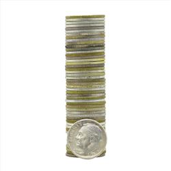 Roll of (50) Brilliant Uncirculated 1951-S Roosevelt Dime Coins