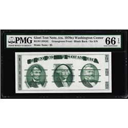 Giori Washington Face Test Note PMG Gem Uncirculated 66EPQ