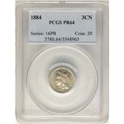 1884 Proof Three Cent Nickel Coin PCGS PR64