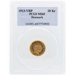 1913 VBP Denmark 10 Kroners Gold Coin PCGS MS65