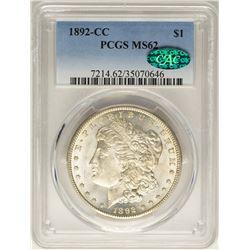1892-CC $1 Morgan Silver Dollar Coin PCGS MS62 CAC