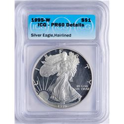 1995-W $1 American Silver Eagle Proof Coin ICG PR60 Details