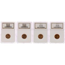 Lot of 1954-D/1955-D/1956-D/1957-D Lincoln Wheat Cent Coins NGC MS65RD/MS66RD