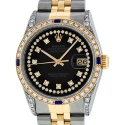 Rolex Mens Two Tone 14K Black Diamond String Lugs & Sapphire Datejust Wristwatch