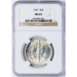 1947 Walking Liberty Half Dollar Coin NGC MS65
