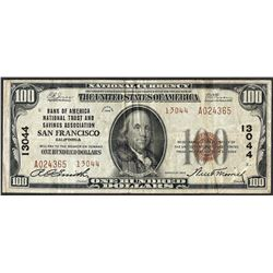 1929 $100 Bank of America San Francisco, CA CH# 13044 National Currency Note